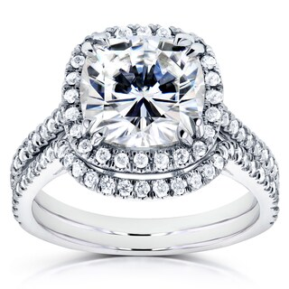 Annello 14k White Gold Moissanite and 1/2ct TDW Diamond Halo Bridal Rings Set (G-H, I1-I2)