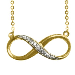 14k Yellow Gold Cubic Zirconia Infinity Symbol Floating Charm Necklace