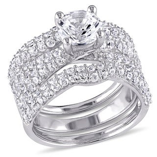 Miadora Sterling Silver Created White Sapphire Three Piece Bridal Ring Set