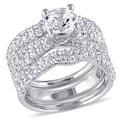 Miadora Sterling Silver Created White Sapphire Three Piece Bridal Ring Set