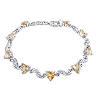 Miadora Sterling Silver Citrine and Diamond Accent Heart Bracelet