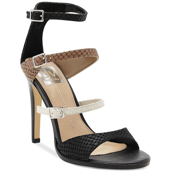 DV by Dolce Vita Black Talin Open Toe Leather High Heels Shoes