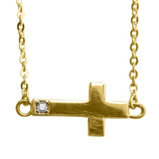 14k Yellow Gold Cubic Zirconia Accent Sideways Cross Necklace