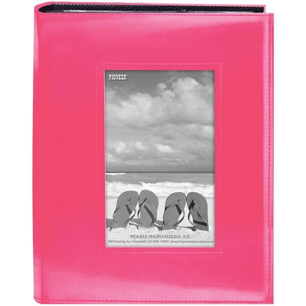Sewn Frame Photo Album 7inX9in 200 PocketsBright Pink