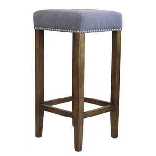 Ash Bar Stool with Silver Nailheads