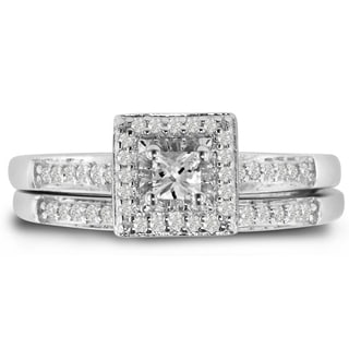Sterling Silver 1/4 Carat TDW Micro Pave Diamond Bridal Set, Princess Center (J-K, I1-I2)