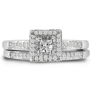Sterling Silver 1/2 Carat TDW Micro Princess Center Pave Diamond Bridal Set (J-K, I1-I2)