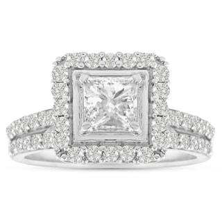 14K White Gold 1 1/2 Carat TDW Micro Pave Diamond Bridal Set, Princess Center (J-K, I1-I2)