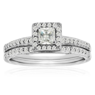 14K White Gold 1/2 Carat TDW Micro Pave Diamond Bridal Set, Princess Center (J-K, I1-I2)