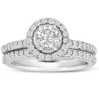 14K White Gold 1 Carat TDW Micro Pave Diamond Bridal Set (J-K, I1-I2)