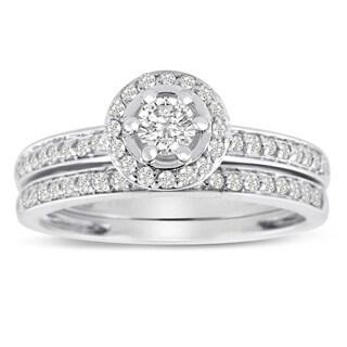 14K White Gold 1/2 Carat TDW Micro Pave Diamond Bridal Set (J-K, I1-I2)