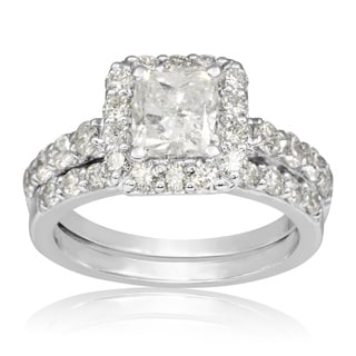 14K White Gold 2 1/4ct TDW Radiant and Round Diamond Bridal Set, 1 Carat Center Diamond (H-I, I1-I2)
