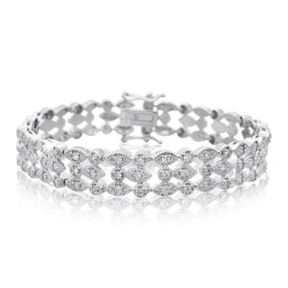 Platinum Overlay 1.20 Carat TDW Three Row Diamond Bracelet, 7 Inches (J-K, I2-I3)