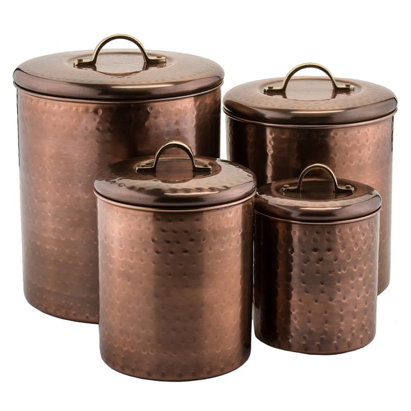 4 piece hammered antique copper canister set 17626937