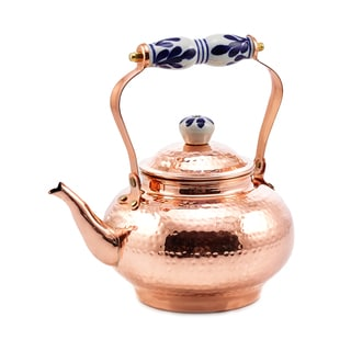 Hammered Solid Copper 2-quart Tea Kettle with Ceramic Handle