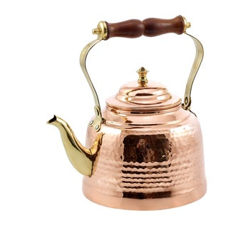 Solid Copper Hammered 2-quart Tea Kettle with Brass Spout and Wooden Handle