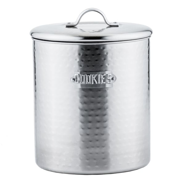 Hammered Brushed Nickel 4-quart Cookie Jar