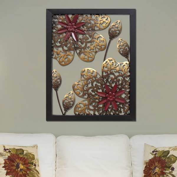 Stratton home decor metal flower panel wall decor Metal home decor