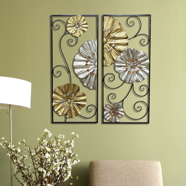 Stratton Home Dcor Metallic Panels Wall Dcor (Set of 2)