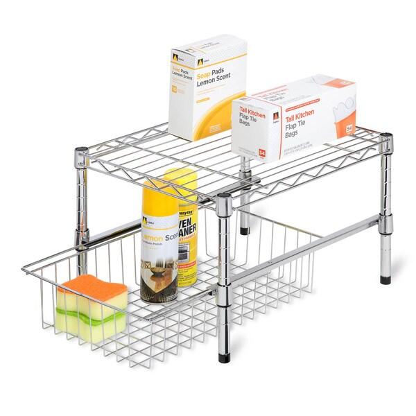 Adjustable Shelf with under cabinet organizer
