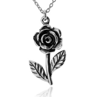 Journee Collection Sterling Silver Traditional Rose Pendant