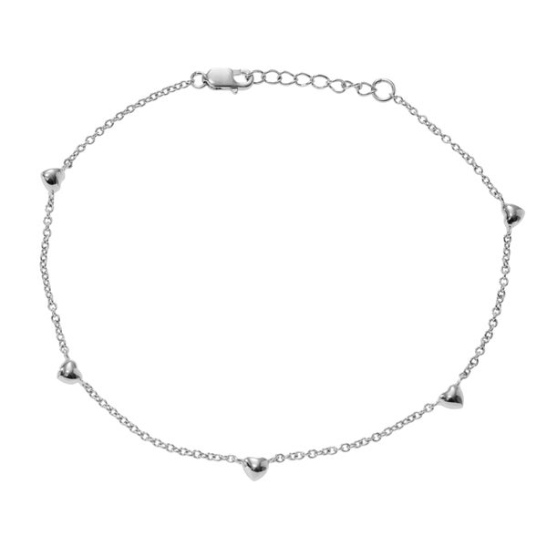 Journee Collection Sterling Silver Mini Puffed Heart Anklet