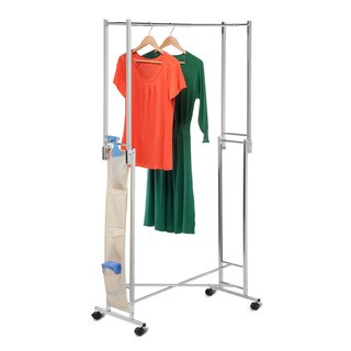 Steel Double Folding Square Tube Garment Rack