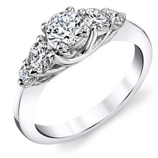 14k White Gold 1/2ct TDW Round Diamond Engagement Ring