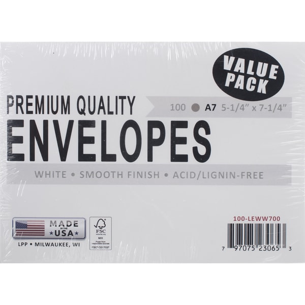 Leader A7 Envelopes (5.25inX7.25in) 100/PkgWhite