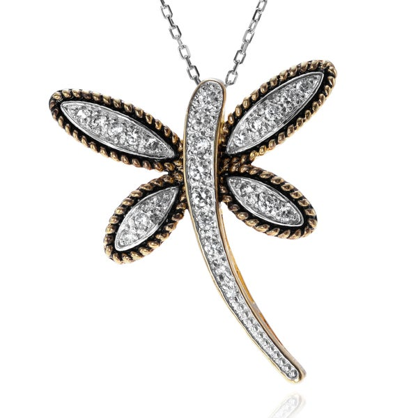 Journee Collection Two-tone Sterling Silver CZ Dragonfly Pendant