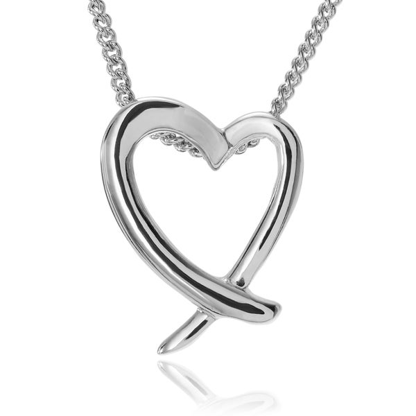 Journee Collection Sterling Silver Open Heart Pendant