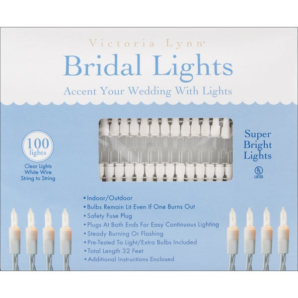 Bridal Lights 100 Count 32'Clear Bulbs W/White Wire