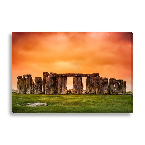 'Stonehenge against fiery orange sunset sky' Canvas Gallery Wrap