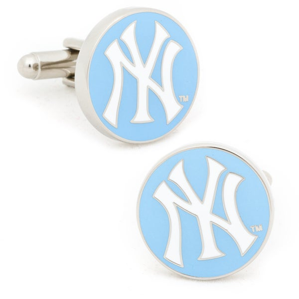 Silvertone Light Blue New York Yankees Cufflinks