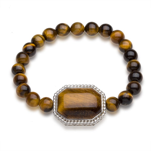 Sterling Silver Tiger Eye Bead Stretch Bracelet