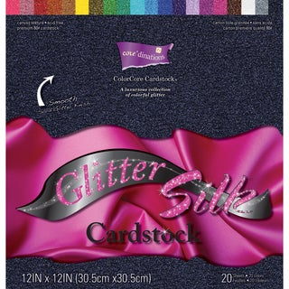 Core'dinations Glitter Silk Cardstock Pack 12inX12in 20/Pkg