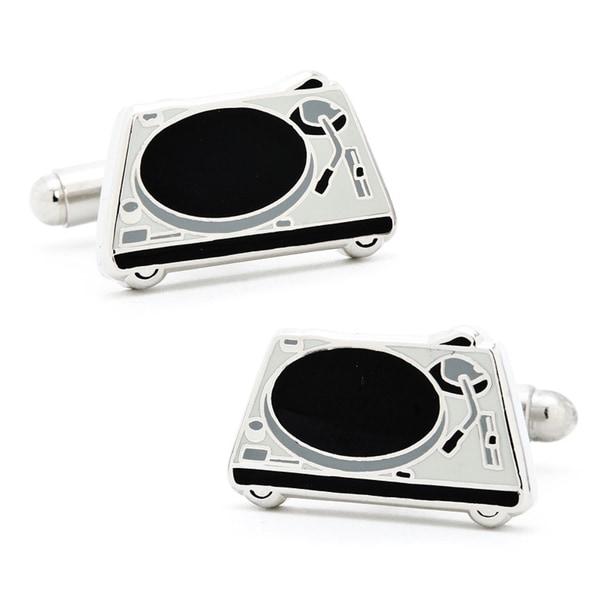 Silvertone DJ Turntable Cufflinks