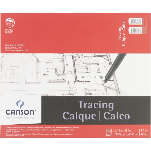 Canson Foundation Series Tracing Paper Pad 14inX17in50 sheets