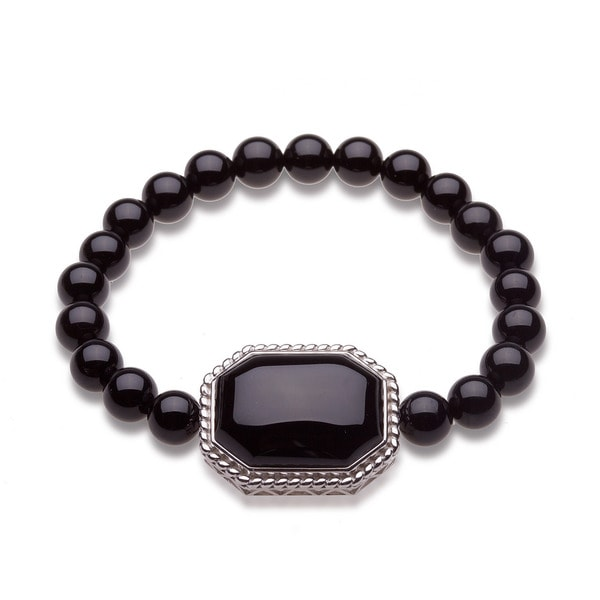 Sterling Silver Black Onyx Bead Stretch Bracelet