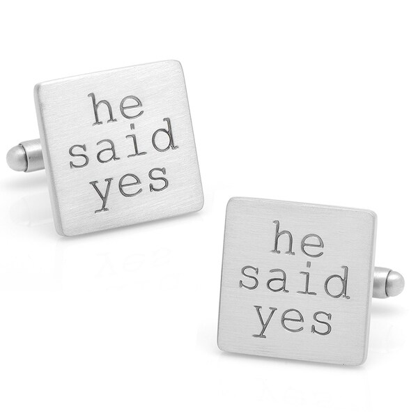 Silvertone Wedding Series He Said Yes Cufflinks