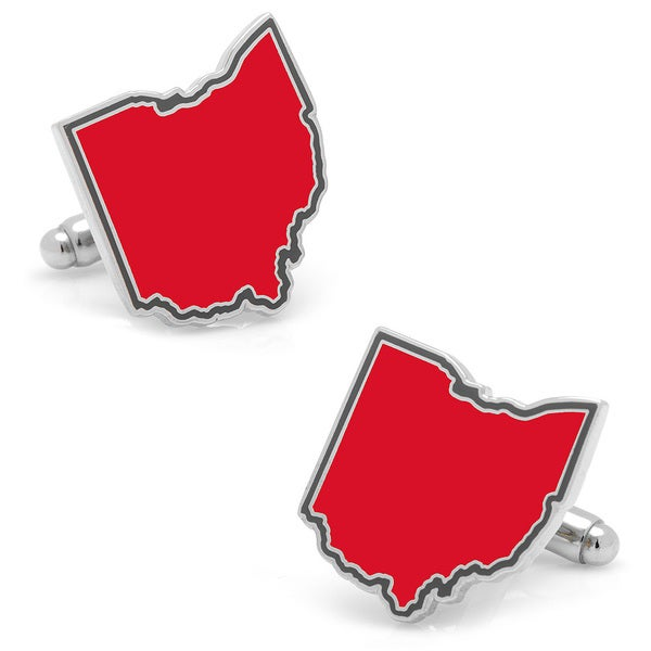 Silvertone Red Ohio Cufflinks