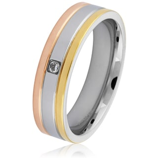 Stainless Steel Tri-Tone Grooved Cubic Zirconia Band Ring (6 mm)