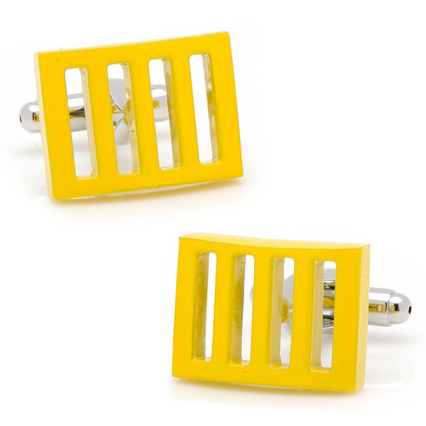 Silvertone Yellow Vented Cufflinks