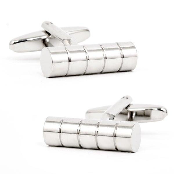 Silvertone Ribbed Cylinder Cufflinks