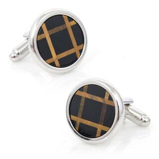 Silvertone Polished Silver Onyx and Tigers Eye Grid Cufflinks
