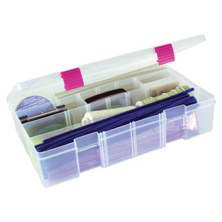 Creative Options Pro Latch Deep Utility Box 415 Compartment14inX9inX3.25in Clear W/Magenta