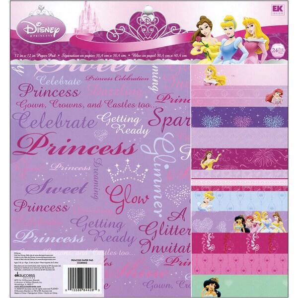 Disney Princess Paper Pad 12inX12in 24 Sheets12 Designs/2 Each