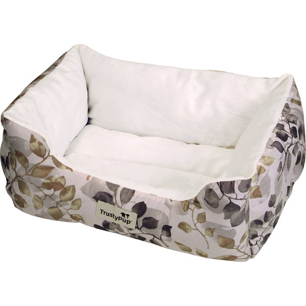 TrustyPup Cuddle Couch Pet Bed 15inX9inX7inWatercolor Leaves Brown
