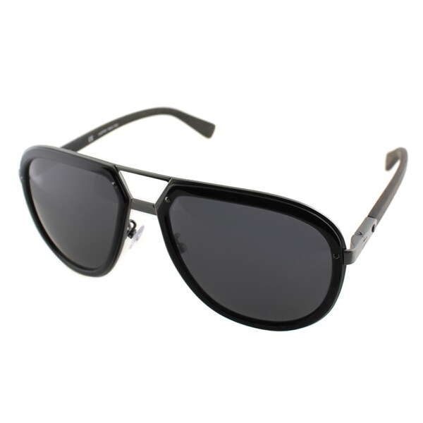 Lanvin Men's SLN 044 K20F Black And Gunmetal Plastic Aviator Sunglasses