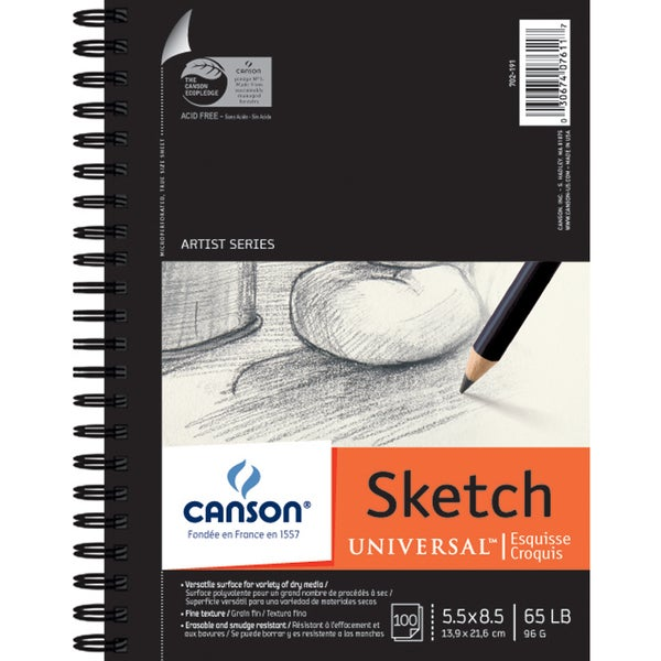 Canson Universal Spiral Sketch Book 5.5inX8.5in100 Sheets